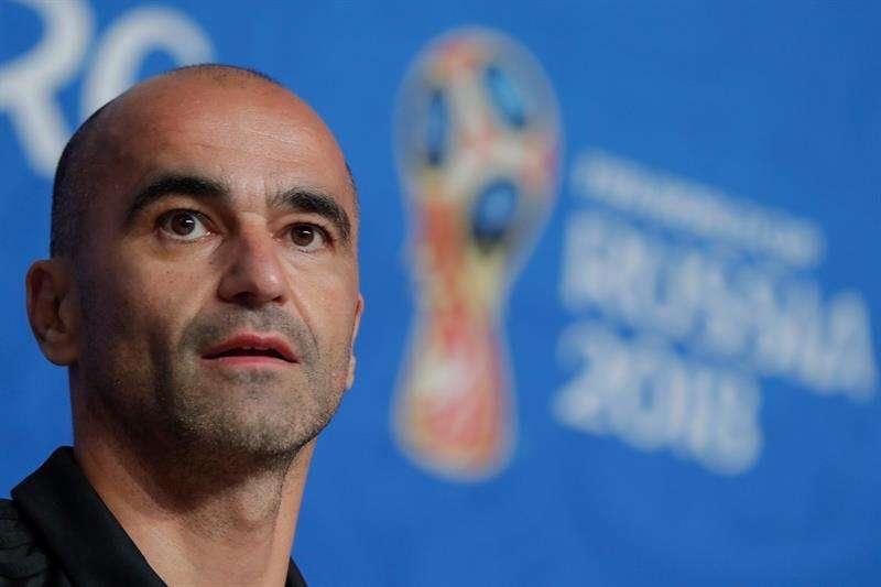 El entrenador de la selección de Bélgica, el español Roberto Martínez, habla durante una rueda de prensa en el estadio de San Petersburgo. Foto EFE