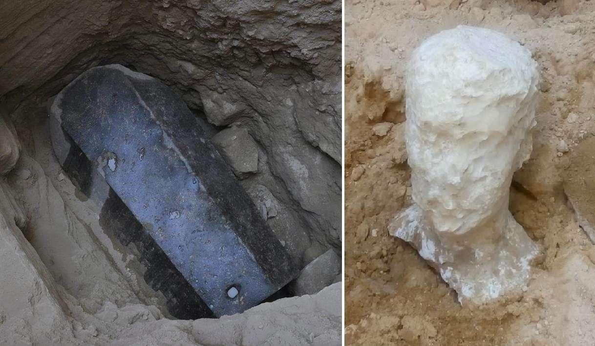 Fotografía sin fechar cedida por el Ministerio Egipcio de Antigüedades que muestra una cabeza esculpida en alabastro hallada junto a un sarcófago de granito negro en un sitio arqueológico en Alejandría (Egipto). EFE