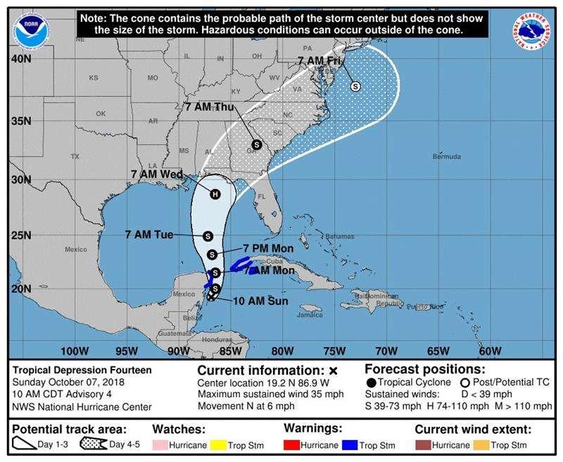 Imagen cedida este domingo por el Centro Nacional de Huracanes (NHC) en la que se muestra el pronóstico de cinco días del trayecto del huracán Michael por el Golfo de México. EFE