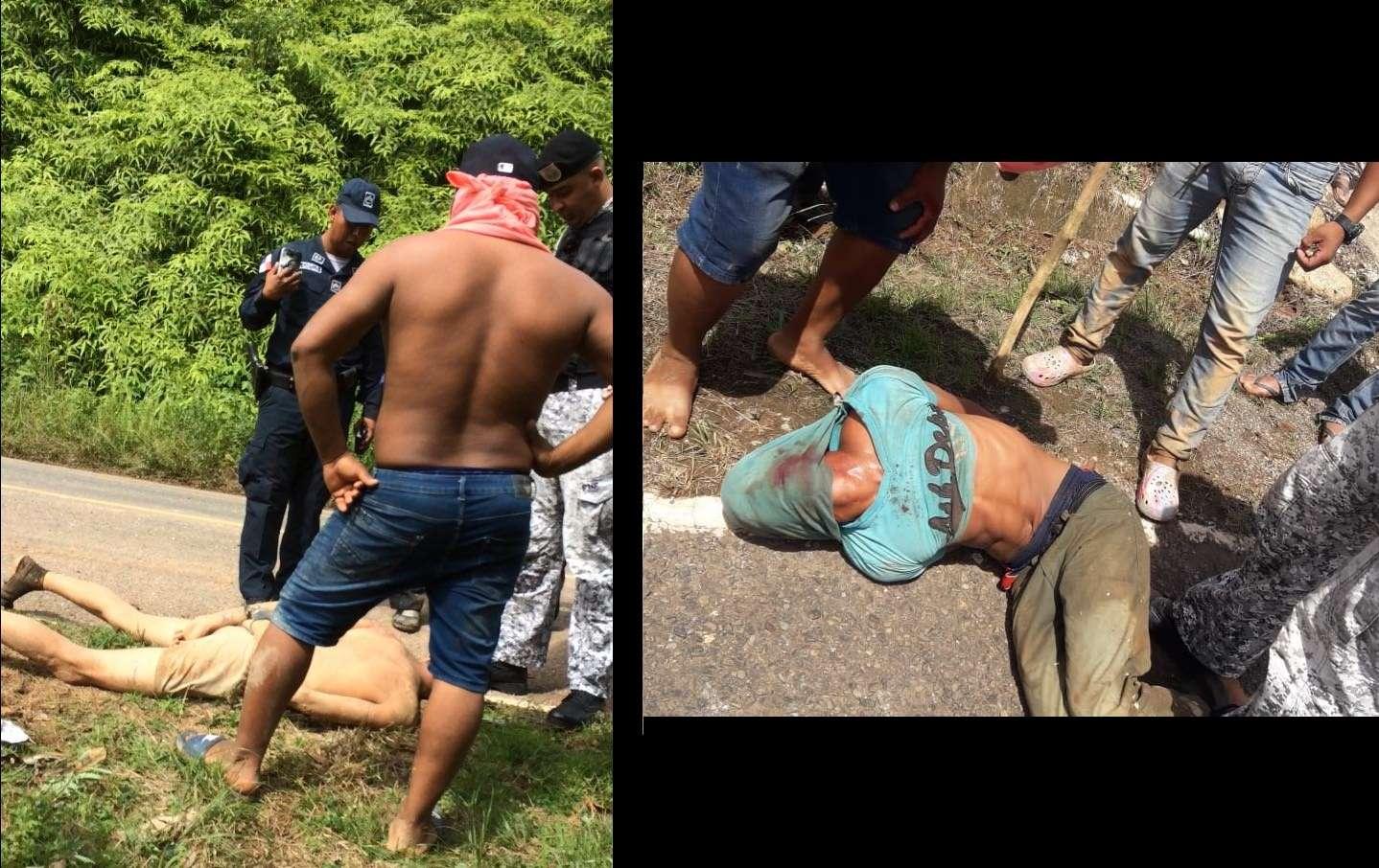 Dos de los asaltantes fueron capturados por miembros de la comunidad.  Foto: Eric Montenegro