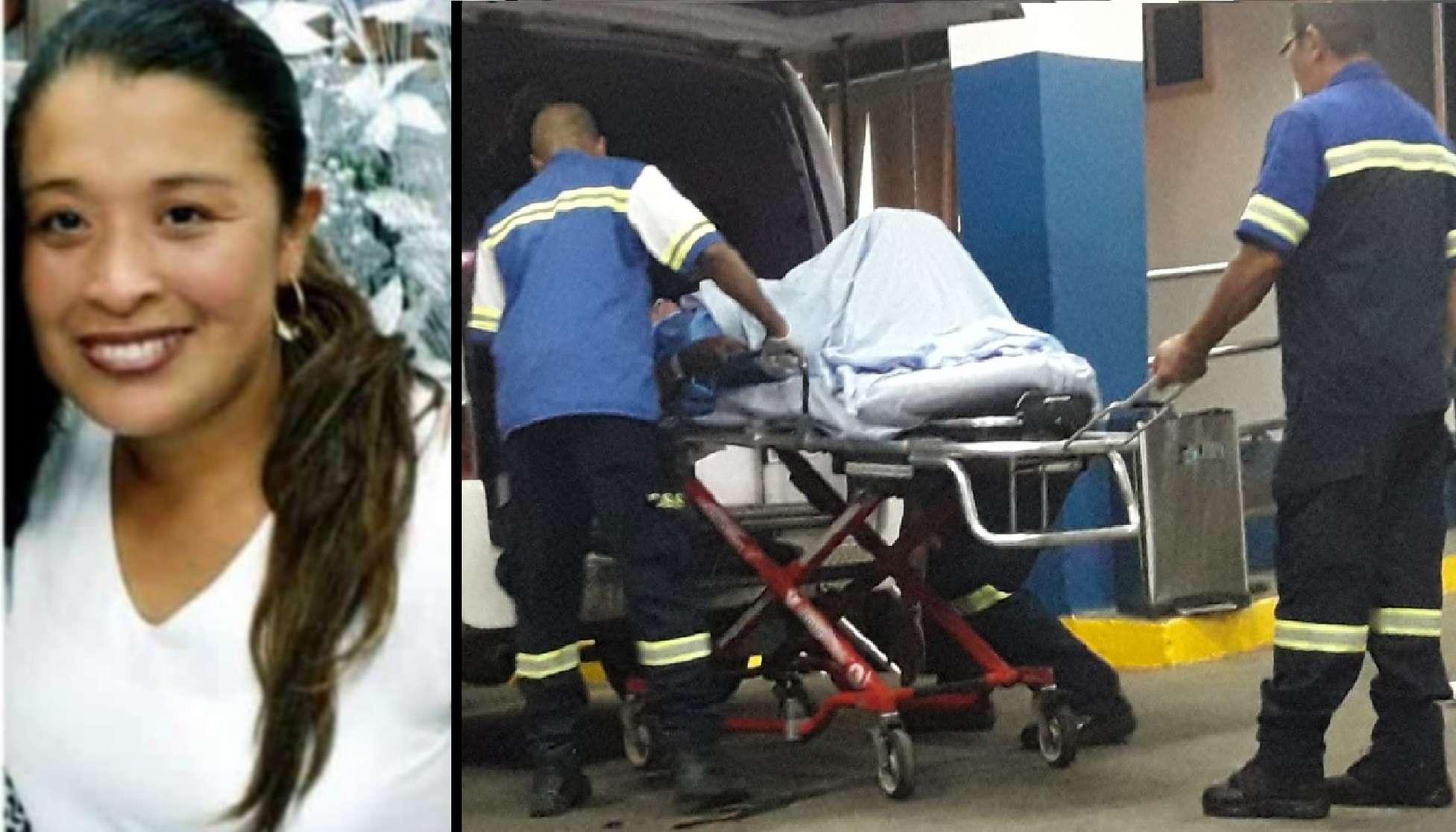 Vista general de la víctima cuando era  trasladada al hospital de David. Foto: Mayra Madrid