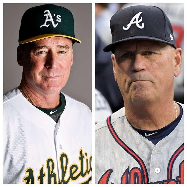 Bob Melvin (izq.) y Brian Snitker./ Fotos AP