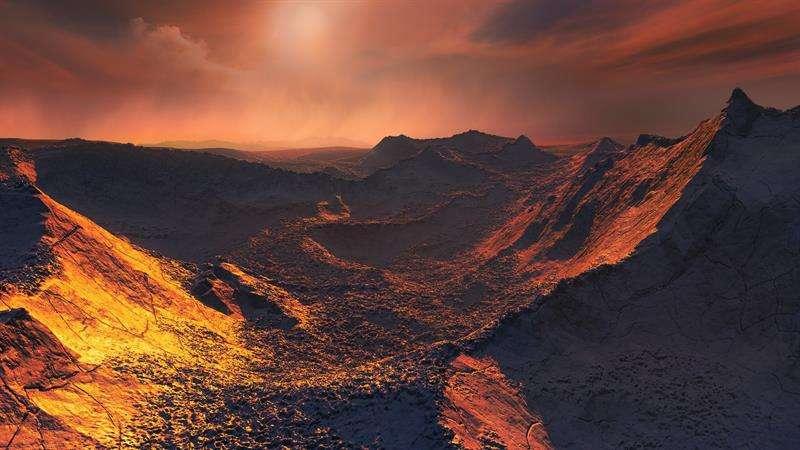 Ilustración cedida por el Observatorio Europeo Austral que muestra la superficie de un planeta al menos 3,2 veces mayor que la Tierra, en la órbita de la estrella más cercana al Sol. EFE