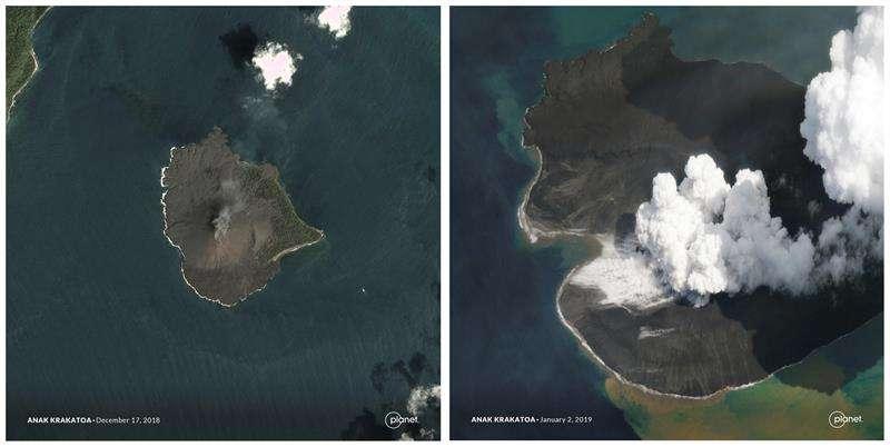 vistas aéreas tomadas el 17 de diciembre (i) y el 30 de diciembre, del derrumbe de la parte occidental del volcán indonesio Anak Krakatau. EFE