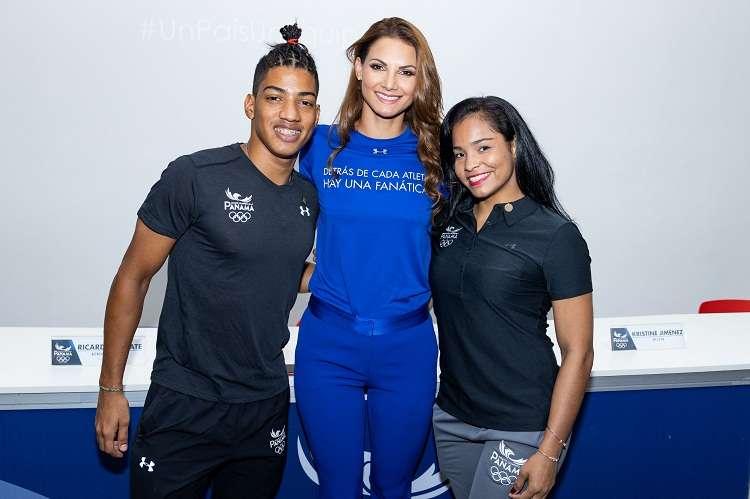 El triatleta Petter Vega, Carolina Dementiev y la judoca Kristine Jiménez. Foto: COP