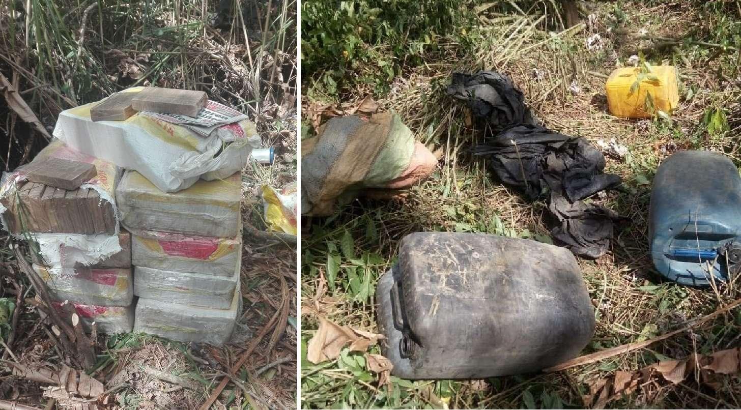Sustancia decomisada en la orilla del río Pacora. Foto: @ProtegerYServir