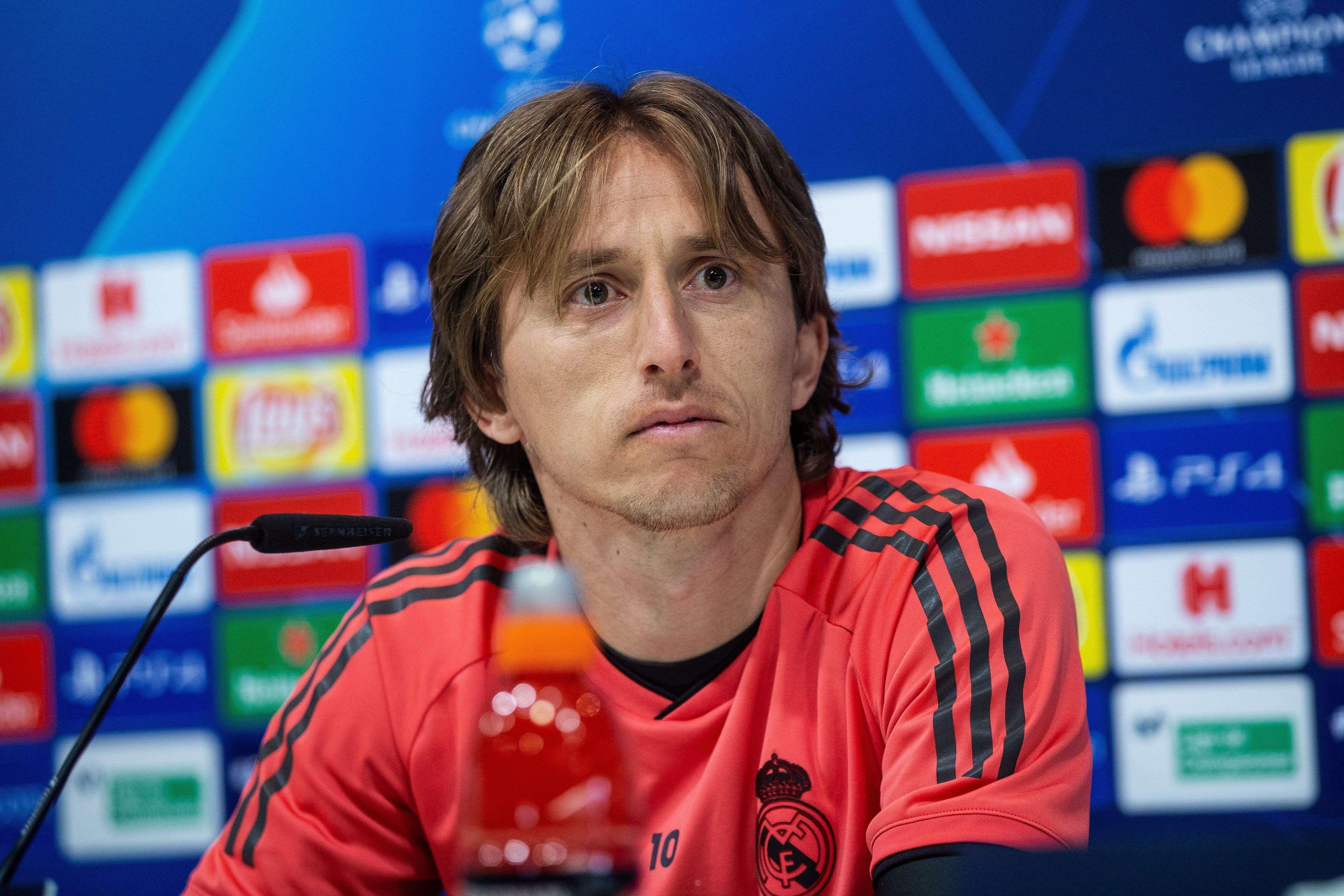 Luka Modric, durante la rueda de prensa tras el entrenamiento previo al partido de Liga de Campeones frente al Ajax, esta mañana. / EFE