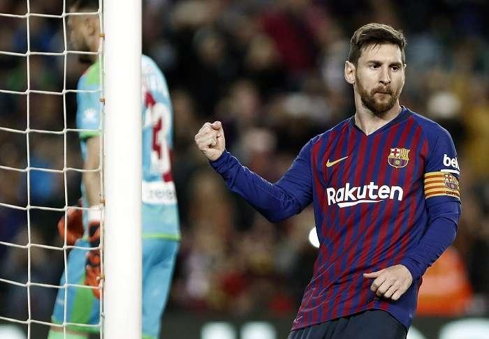 Lionel Messi celebra su anotación ante el Rayo Vallecano. /EFE