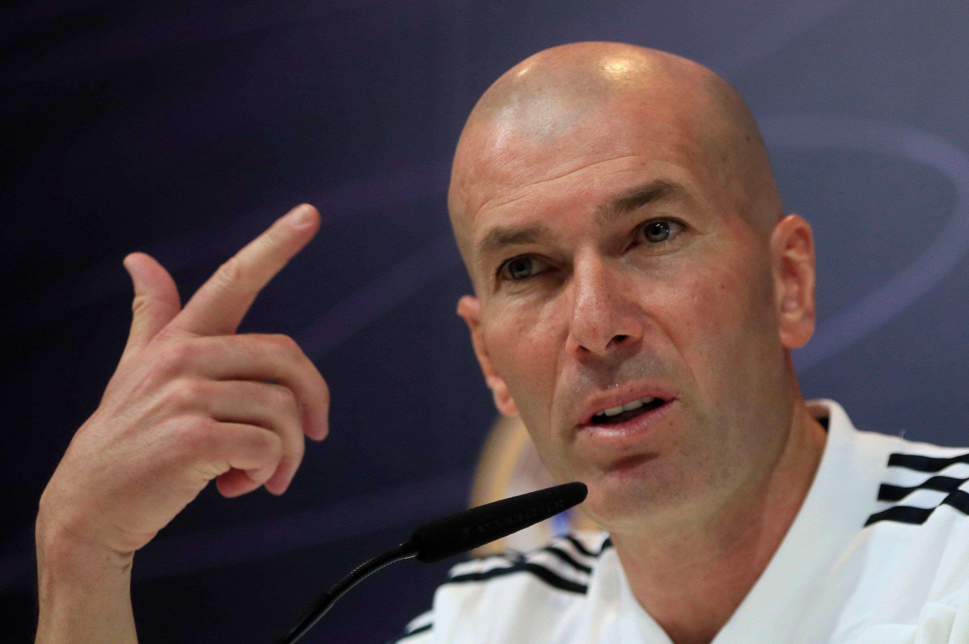 Zinedine Zidane durante la rueda de prensa de hoy. /EFE