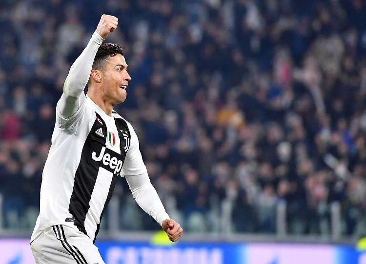 Cristiano Ronaldo, delantero portugués de la Juventus, mientras celebra el segundo tanto ante el Atlético de Madrid. Foto: EFE