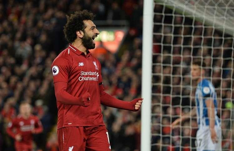 Mohamed Salah celebra su anotación ante el Hudersfield. Foto: EFE