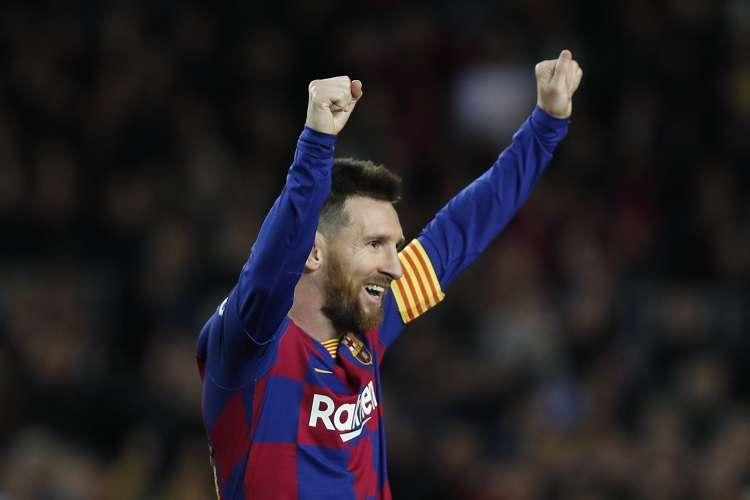 El delantero Lionel Messi celebra su anotación ante el Lionel Messi. Foto: AP