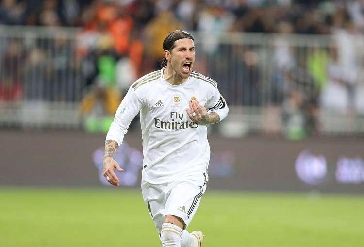 Sergio Ramos celebra uno de sus goles con el Madrid. Foto: EFE