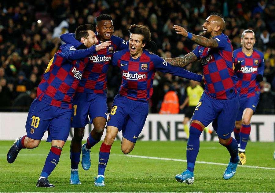 Celebración del gol de Lionel Messi /EFE