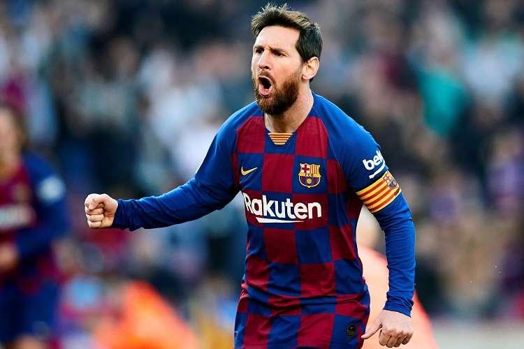 Lionel Messi del Barcelona, celebra su gol ante la Real Sociedad. Foto: EFE