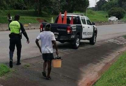 Vista general de la acción policial en el Corredor Norte. Foto: @ProtegerYServir