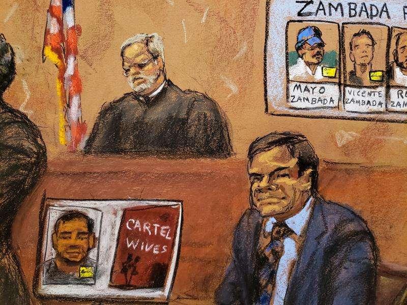Reproducción fotográfica de un dibujo durante el juicio de Joaquín 'el Chapo' Guzmán en el tribunal del Distrito Sur en Brooklyn, Nueva York (EE.UU.). EFE/Archivo