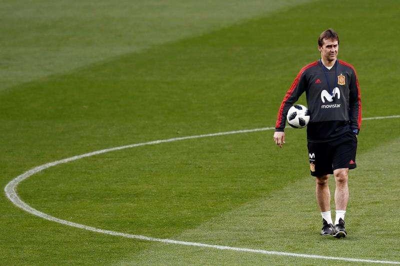 El entrenador de España, Julen Lopetegui, dará la lista oficial para el Mundial de Rusia 2018 el 21 de mayo. Foto EFE