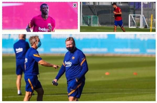 Entrenamientos de hoy lunes del Barcelona, a los que no se presntó Lionel Messi.