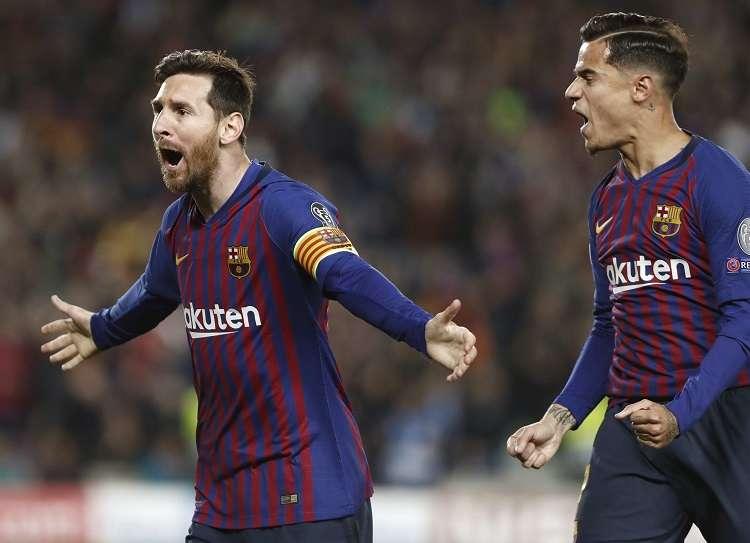 El delantero argentino del Barcelona Leo Messi (i) celebra el primer gol ante el Manchester United. Foto: EFE