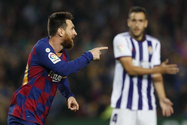 Lionel Messi celebra su gol ante el ante el Real Valladolid. Foto: AP