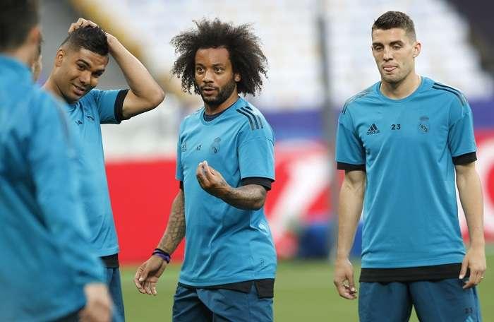 Marcelo en entrenamientos previo a la final de la Liga de Campeones./AP
