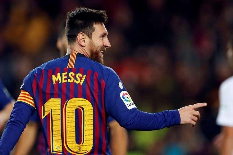 a, Leo Messi, celebra el segundo gol del equipo blaugrana durante el encuentro correspondiente a la jornada 19. Foto: EFE
