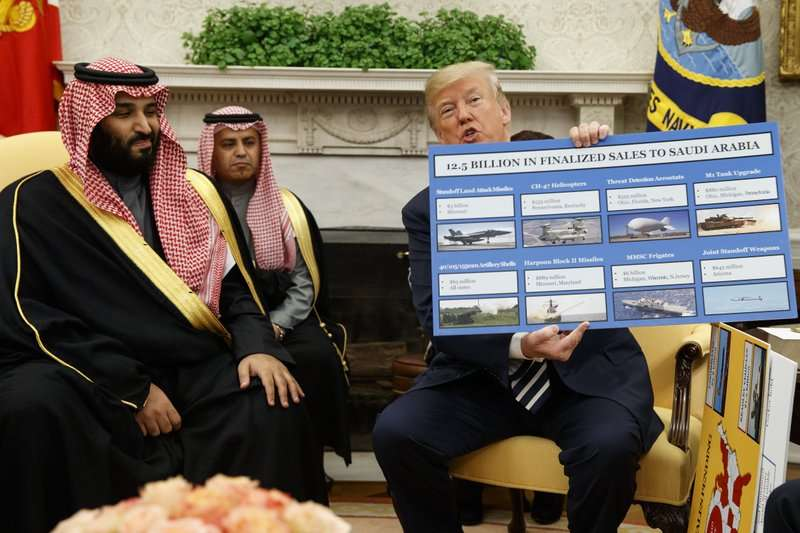 En esta foto de archivo, el presidente Donald Trump muestra un gráfico que destaca las ventas de armas a Arabia Saudita durante una reunión con el príncipe heredero de la corona saudí Mohammed bin Salman. AP