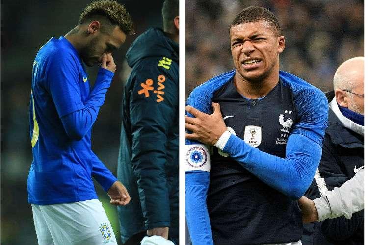 Neymar (izq.) y  Kylian Mbappé salieron lesionados ayer. Foto: AP