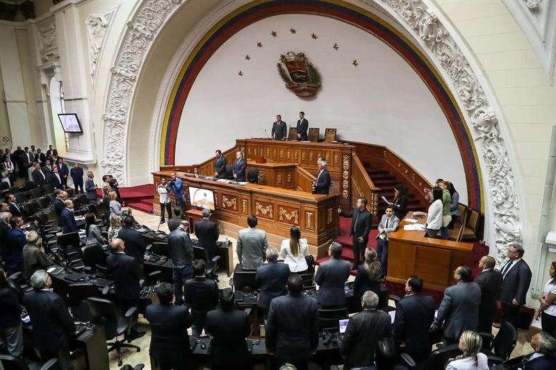 Vista parcial del hemiciclo de sesiones de la Asamblea Nacional hoy en Caracas (Venezuela). EFE