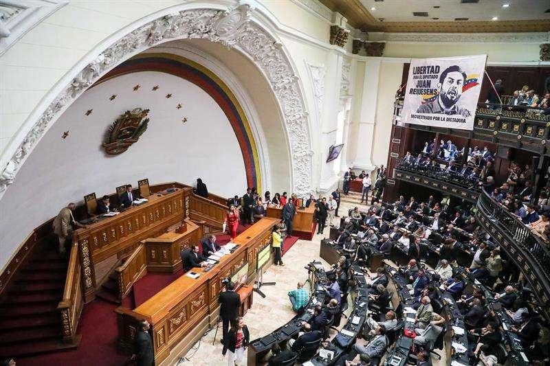 Vista general del hemiciclo de sesiones de la Asamblea Nacional de Venezuela este martes, en Caracas (Venezuela). EFE
