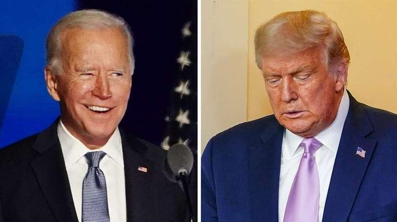 Vista del presidente electo de EE.UU. Joe Biden (i), y el actual mandatario estadounidense, Donald J. Trump (d) . EFE