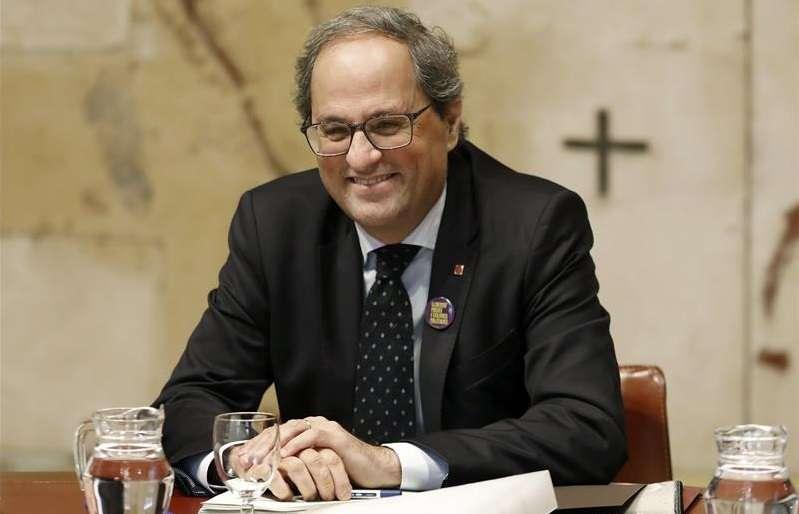 El presidente de la Generalitat catalana, Quim Torra, durante la reunión semanal del Govern celebrada hoy. EFE