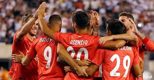Jugadores del Real Madrid celebran uno de los goles anotados ante la Roma. Foto: Real Madrid