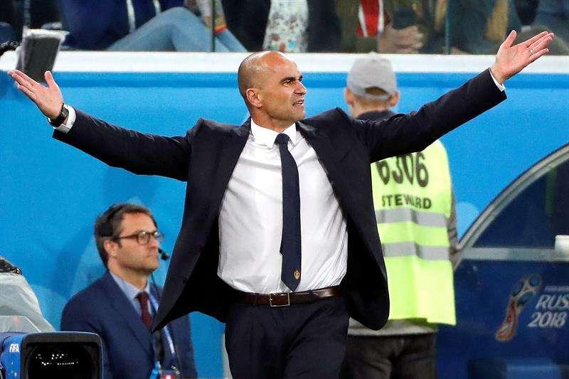 El técnico de la selección belga de fútbol el español Roberto Martínez Montoliú durante el partido Francia-Bélgica. Foto EFE