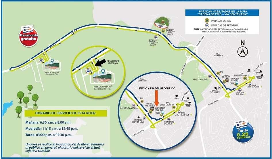 Mapa del recorrido que realiza la ruta Albrook - Cadena de Frío. Imagen @OficialMibus