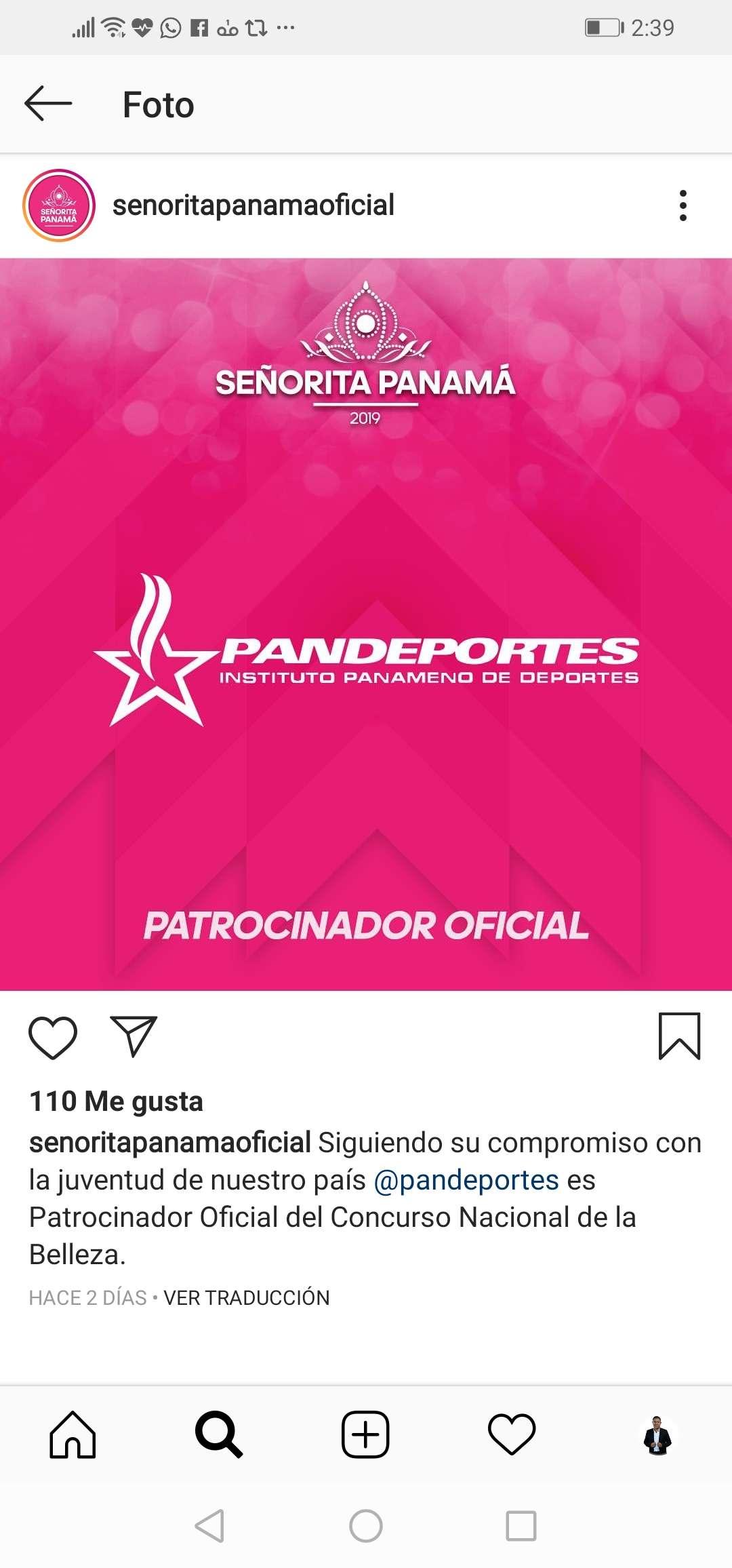 Este es el anuncio que hizo la Organización Señorita Panamá en su cuenta de Instagram.