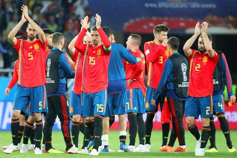 La selección de España tiene récord de una victoria y dos empates en el Mundial de Rusia 2018. Foto EFE