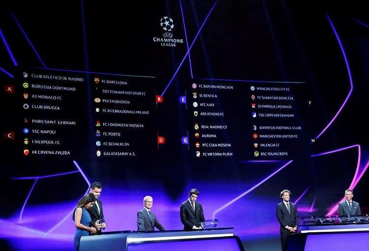 Una pantalla muestra los equipos tras el sorteo de la fase de grupos. Foto: EFE