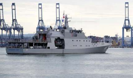 El buque Comandante Toro de la Armada de Chile participa en el ejercicio de defensa en el que participan fuerzas navales de cerca de una docena de países de América.  / Foto: EFE