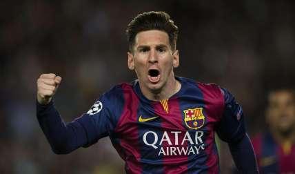 Messi celebra tras marcar en un partido de Liga de Campeones. Foto: EFE