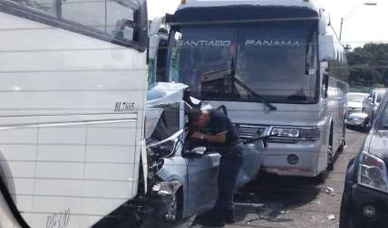 Vista general del accidente.  /  Foto: @TraficoCPanama