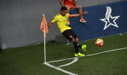 """Manuel """"Cholo"""" Torres anotó para dar el triunfo al CAI de La Chorrera, en Soná. Foto:Anayansi Gamez"""