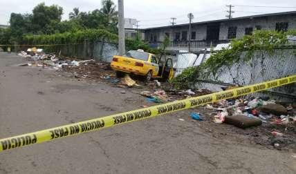 Vista general del lugar en donde quedó el vehículo robado.
