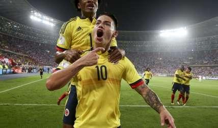 James Rodriguez celebra su anotación con su selección. Foto: AP