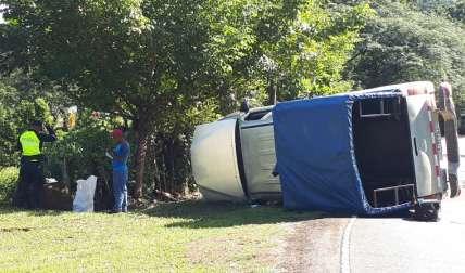 Vehículo accidentado ayer, en La Pintada.
