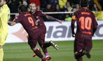 Jugadores del Barcelona celebran una de las anotaciones. Foto: EFE