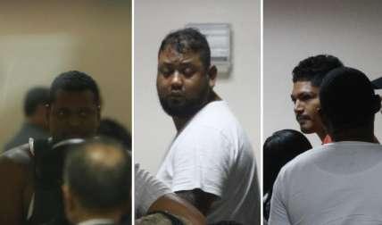 Vista general de los tres imputados vinculados a tiroteo en Amador. Fotos Edwards Santos