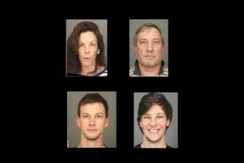 En la imagen Laura y Colin Rideout, Alexander Rideou y la víctima Craig Rideout.